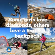Some girls love diamonds. others love a tent & a backpack! Oh yes, raise your hand is this describes YOU! : Some girls love diamonds. others love a tent & a backpack! Oh yes, raise your hand is this describes YOU! Backpacking Tips, Camping And Hiking, Hiking Gear, Outdoor Fun, Outdoor Camping, To Infinity And Beyond, Nature Quotes, Adventure Is Out There, Go Outside
