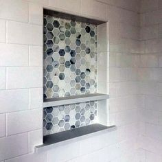Small Hexagon Shower Niche Ideas With White Subway Tiles Tile Shower Shelf, Recessed Shower Shelf, White Subway Tile Shower, Recessed Shelves, Subway Tile Showers, Bathroom Niche, Bathroom Interior, Subway Tiles, Bathroom Ideas