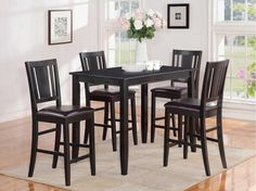 East West Furniture Buckland Black Dining Set With Counter Height Table Counter Height Kitchen Table, Dining Table In Kitchen, Dining Room Sets, Dining Room Furniture, Dining Chairs, Dining Area, Bar Counter, Black Furniture, Black Dining Set
