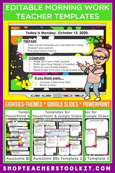 These awesome eighties-themed Editable PowerPoint and Google Slides Teacher Templates include space to type the day and date, reminders of what to do when entering the classroom, as well as 'must do' and 'may do' assignments. Remind your students of their morning assignments during arrival time by displaying them on your whiteboard or SMARTBoard. #teachertemplates #morningarrivalinstructions #editable #powerpoint #googleslides #funthemes #awesomeeighties #80s
