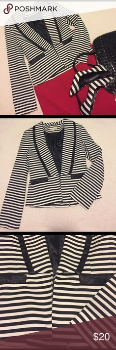 Black and White Striped Blazer!!! This is so cute! Adorable with a bright color to add that pop! In like new condition! Size S. Name brand-alwaysme. 95%polyester 5%spandex. Fully lined. Long sleeves. Clasps in the front. Like this? Feel free to make a reasonable offer. Please use the offer button! Thanks for looking! AlwaysMe Jackets & Coats Blazers