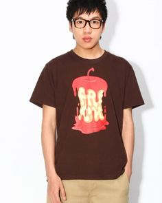 Creative leftover apple mens t shirts loose style brown fruit tshirt-