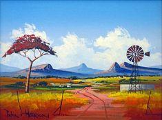 Pieter van Heerden - Colourful Landscape - 400 x 300 Farm Paintings, African Paintings, African Artists, Canvas Paintings, Landscape Art, Landscape Paintings, Canvas Painting Projects, Knife Painting, Windmill Art