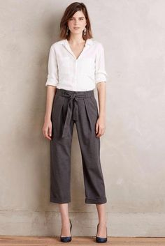 ANTHROPOLOGIE NEW $148 Belted Barton Trousers Cartonnier Gray Pants Size 10 NIP #CartonnierAnthropologie #CaprisCropped