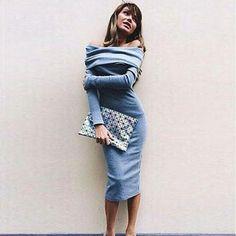 Feitong Dress For Women Long Sleeve Sexy Off Shoulder Bandage Party Kn – LavishPursuit