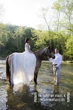 Yes, that is a wedding dress being worn on a horse in a flowing creek.  :)