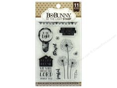 """BoBunny Stamps to add interest to cards, scrapbooks and other craft projects. Essentials Be The Light- 11 clear cling stamps with designs of dandelion see flowers, banner, hearts, and captions """"joyful"""", """"blessed"""", """"Me & My House We Will Serve The Lord"""" and more. Largest measures approximately 2""""x 3.75""""."""
