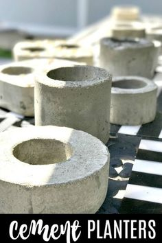 Make easy cement planters for gifts or to sell using recycled plastics and a bag of inexpensive cement. Homeroad.net #cement #gifts #planters #tabletop #repurposed #recycle #diyproject #crafts #familyfun