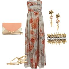 A fashion look from march 2014 featuring brown maxi dress, dolce vita and p Casual Wedding Guest Dresses, Beach Wedding Outfit Guest, Beach Wedding Guests, Summer Wedding Outfits, Wedding Guest Style, Trendy Wedding, Destination Wedding, Outfit Beach, Mauve