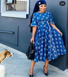 traditional dresses pic in South Africa 2020 - Spiffy Fashion Seshweshwe Dresses, African Maxi Dresses, African Attire, African Wear, African Style, Casual Dresses, South African Traditional Dresses, Traditional Outfits, Traditional Wedding