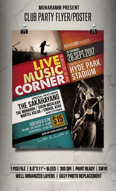 Buy Live Music Event Flyer / Poster by muharamm on GraphicRiver. Live Music Event flyer templates or poster templates designed to promote any kind of music event, concert, festival, . Flyer Poster, Gig Poster, Festival Download, Music Heart, Technology Photos, Folk Festival, Event Flyer Templates, Event Flyers, Club Parties