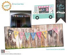 SWEET BIRTHDAY BANNER!!! One of my FAVORITES!  We all scream for ice cream!!! Retro Ice Cream Truck Birthday PARTY Banner!  It's the cherry on top! Contact Laura at {Lottie Bird} for more custom keepsake designs!