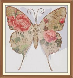 Shabby Chic Butterfly Cross Stitch Chart 9.3 x 10.0 in