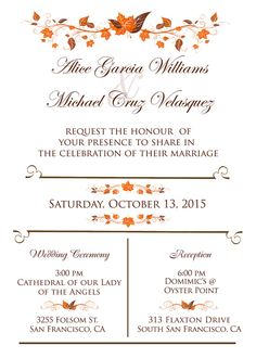 Autumn Wedding Invitation suite Fall Leaves Wedding by StudioDMD