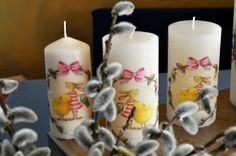 Pillar Candles, Decoupage, Easter Candle, Simple Diy, Candles, Easter Activities, Nice Asses