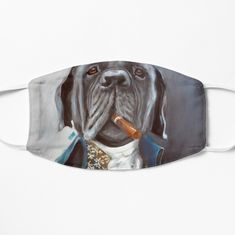 'Anthropomorphic Smokin' Dawg - Dog portrait painting' Mask by Julie Mayo Framed Prints, Canvas Prints, Art Prints, Dog Portraits, Cotton Tote Bags, Art Boards, Face Masks, Lion Sculpture, Statue