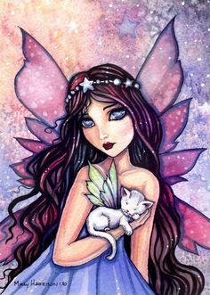 Dreamland - Fairy and Little White Cat - Fine Art Giclee Print 9 x 12 - Molly Harrison Fantasy Art Illustration Fairy Dust, Fairy Tales, Dragons, Beautiful Fairies, Cat Cards, Magical Creatures, Fantasy Art, Fantasy Fairies, Dark Fairies