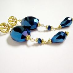 Blue Earrings Yellow Gold Jewelry Metallic by jewelrybycarmal, $22.00
