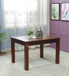 Buy Abbey Solid Wood Four Seater Dining Table in Honey Oak Finish by Woodsworth Online - Contemporary 4 Seater Dining Tables - Dining - Furniture - Pepperfry Product Solid Wood Furniture, Furniture For You, Dining Furniture, Four Seater Dining Table, Dining Tables, Indian Homes, Wooden Tables, Home Decor Styles, Dining Area