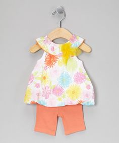 Take a look at this Vitamins Baby White & Orange Floral Tunic & Capri Leggings - Infant on zulily today!