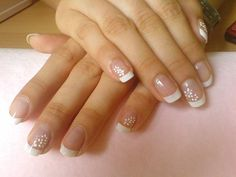 French Manicure With White Flowers Nails