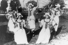 Girls with hoops, 1926. Standing from left: Anna Louise Hurtado Heil, Josephine Peck Knapp, Cymphorosa Yrigoyen Purcell. Kneeling from left: Irene Buchanan Dahlin and Meryle Thomason. Canoga-Owensmouth Historical Society. San Fernando Valley History Digital Library.