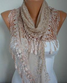 Lace Scarf   scarf shawl  Sale scarf  Free scarf  Salmon  by anils, $19.90