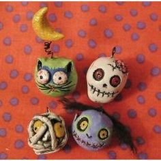 Things to make from clay: Zombie Halloween ornaments