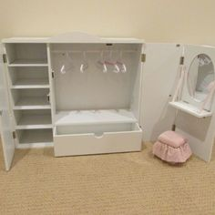 "Our Generation Wardrobe Vanity Closet Armoire Trunk For American Girl 18""doll"