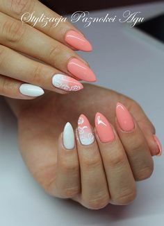 Semilac 001 strong white, 055 peach milk ombre nails with roses sharm effect