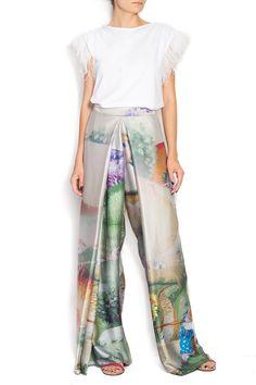 Dorin Negrau | Fusta pantalon din matase naturala imprimata digital ELENA | WE LOVE COUTURE