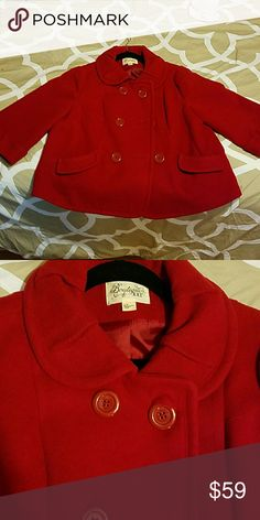 """Womens coat This is a super pretty red coat!! It is a size large, but is like a """"short coat""""... it is not a petite size, it just sits on your belly or so.. it looks very pretty, I love it but it does not fit anymore ?? boutique XXI Jackets & Coats Pea Coats"""