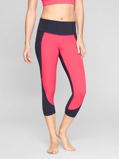 The Colorblock Salutation Capri features bright colors with a barely-there yet hugged-in feel that gives you total freedom of movement in your asanas.