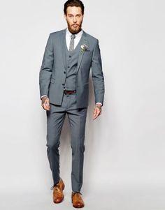 fato de noivo barato da Asos com colete em azul claro cinza 176-05
