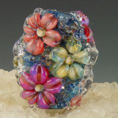 Five Petal Blooms 1 boro/borosilicate handmade by redsidedesigns, $19.00