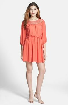 $75 Nikki Rich Crochet Neck Chiffon Dress available at #Nordstrom MULTIPLE COLORS AVAILABLE (Not black)