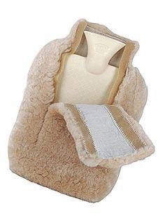 Wärmeflasche mit Lammfell-Überzug
