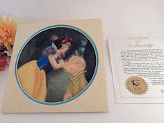 Snow White Seven Dwarfs Lenticular Art  Print VTG 1993 Walt Disney Collectible