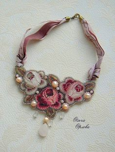 Olga Orlova necklace beaded flowers with pearl accents collar