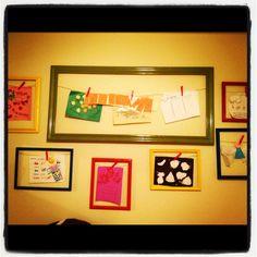 Playroom wall to display boys art work!