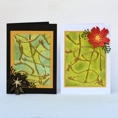 glue gun with hot embossing on card background - interesting technique