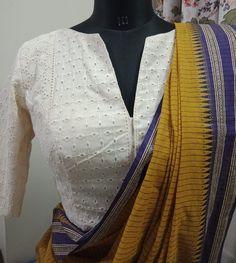 Saree Blouse Neck Designs, Sari Blouse, Collar Blouse, Sleeveless Blouse, Saree Designs Party Wear, Indian Designer Sarees, Saree Trends, Designer Blouse Patterns, Embroidered Blouse