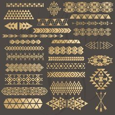 Tribal Borders Digital Clip Art - gold foil tribal aztec borders & elements png files for scrapbooking, invitations, photography templates:Not a big fan of the tribal prints, but I do like the arrows and triangles, the more symetrical patterns. Art Tribal, Tribal Prints, Scrapbooking Invitation, Digital Scrapbooking, Pattern Art, Pattern Design, Arrow Pattern, Border Pattern, Gold Pattern