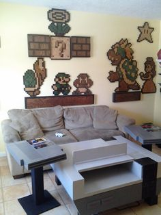 Called me a Nerd because I like Nintendo.don't be so jelly that my living room is going to look like this soon. Home Living, My Living Room, Living Spaces, Game Room Furniture, Geek Furniture, Furniture Projects, Kids Furniture, Sweet Home, Deco Retro
