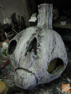 Halloween Decorations: Adding shape to faux pumpkins with papier-mâché
