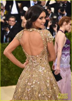 Nina Dobrev wearing Marchesa at Met Gala 2016