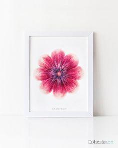 Flower print, Instant print Flower art download, Dark pink wall art Printable women gift, Burgundy flower PRINTABLE decor Bedroom wall decor
