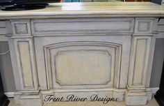 Mantel make-over for Anne Lynn's Boutique using Paint Couture Arctic White, Black Chiffon & Brown Sugar glazes.