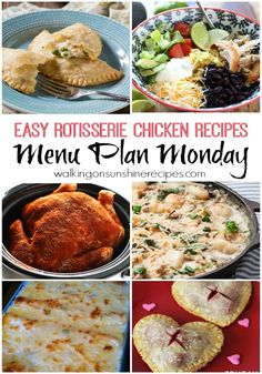 This week's Menu Plan Monday features FIVE easy recipes you can create from a rotisserie chicken.