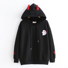 New cute little devil embroidered hoodie sold by Harajuku fashion. Shop more products from Harajuku fashion on Storenvy, the home of independent small businesses all over the world. Harajuku Fashion, Kawaii Fashion, Cute Fashion, Harajuku Style, Harajuku Clothing, Teen Fashion Outfits, Fashion Mode, Emo Fashion, Fashion Online